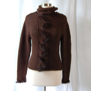 {Kenji Natural} Brown Cable Knit Faux Fur Sweater